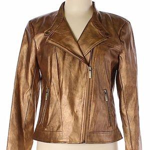 Faux Leather Bronze/Gold Metallic MK Jacket